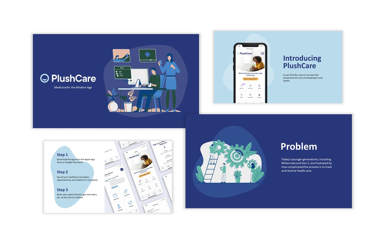 4 PowerPoint Slides From Presentation for PlushCare